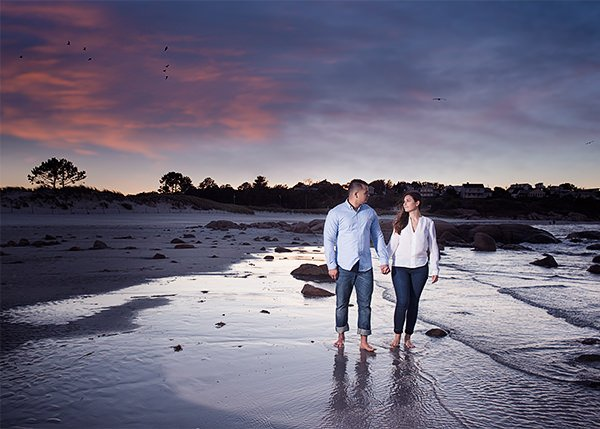 summer couple's photos on beach by best wedding photographer near Castleton Windham, NH