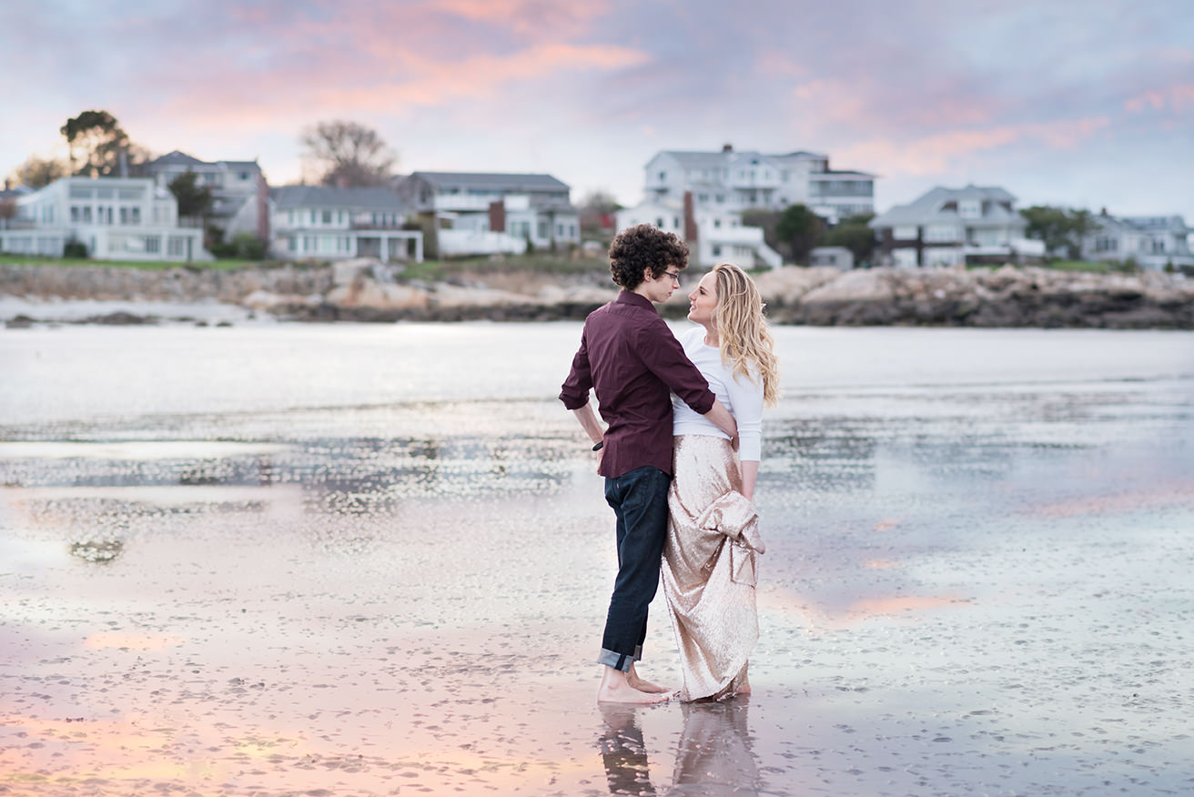 romantic engagement session during sunset at Wingaersheek beach in Gloucester, MA by Q Hegarty Photography best wedding photographer near Atkinson resort Atkinson, NH