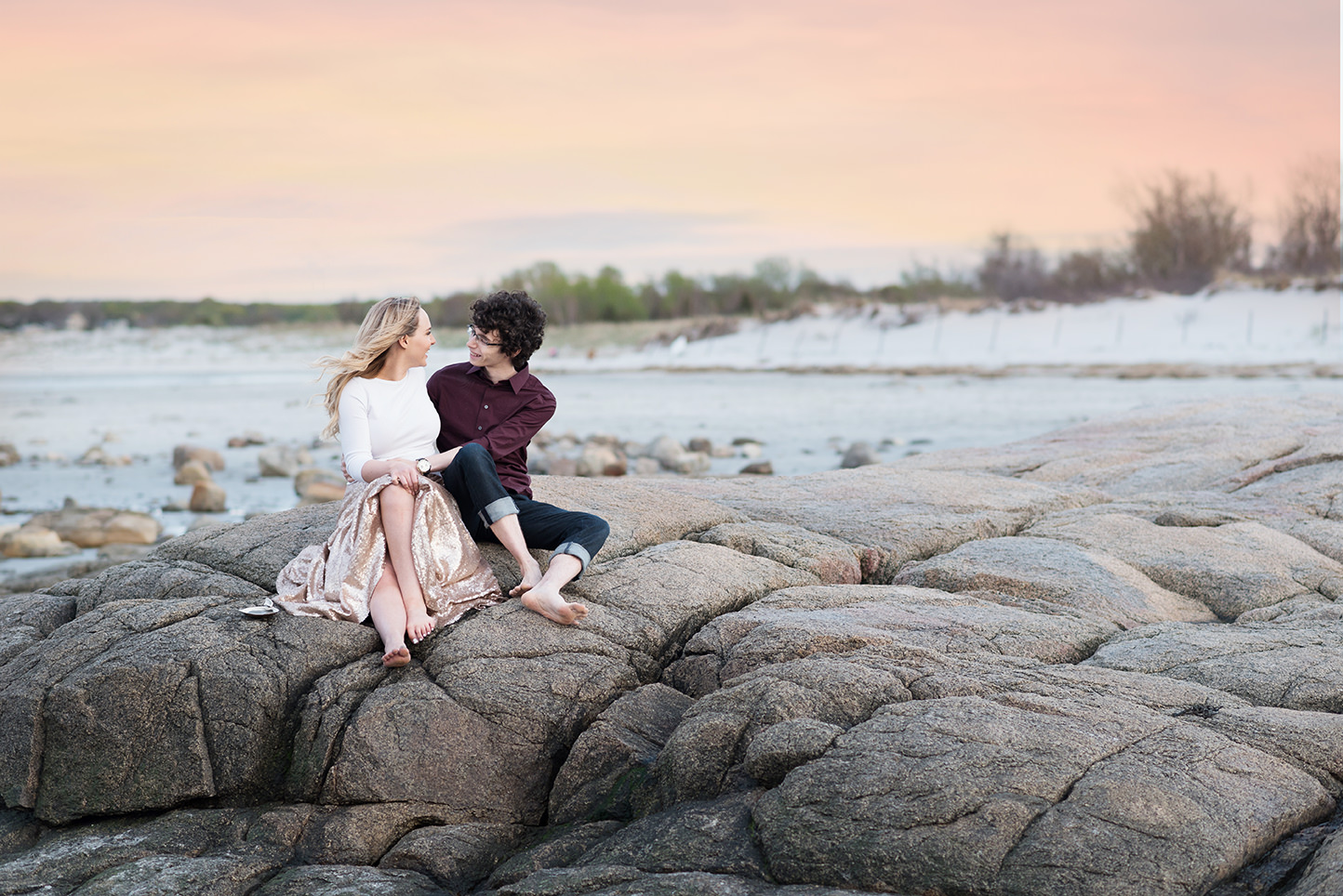 golden sunset engagement photos by Q Hegarty Photography  the best wedding photographer near The Barn at Gibbet Hill, Groton, MA