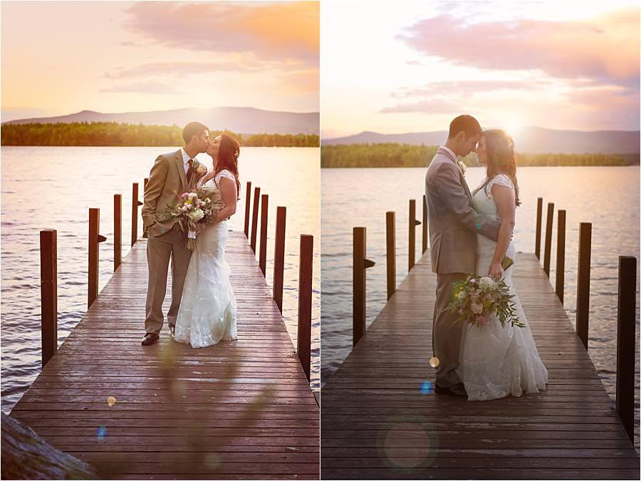 bride and groom portraits lake Winnipesaukee wedding