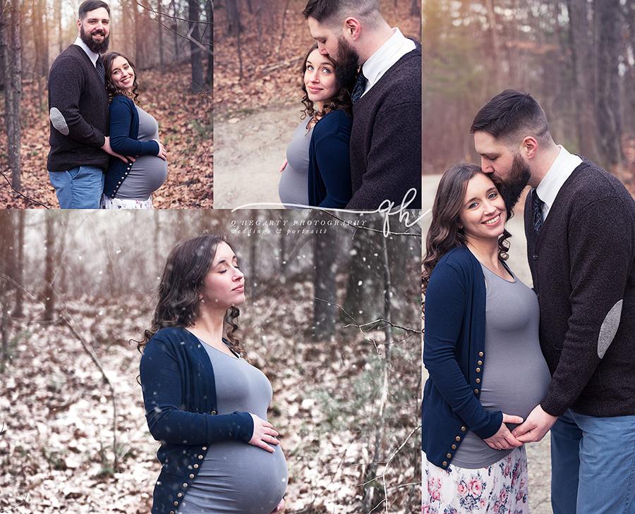 winter maternity photography in Billerica, MA