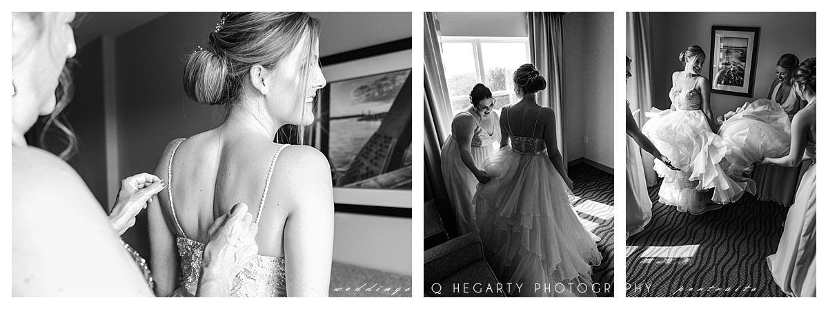 black and white bride getting ready photos by Q Hegarty Photography best wedding photographer near Renaissance Haverhill, MA