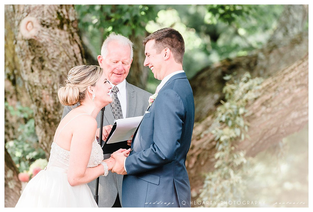 romantic ceremony under a tree Q Hegarty Photography The red barn at outlook farm wedding