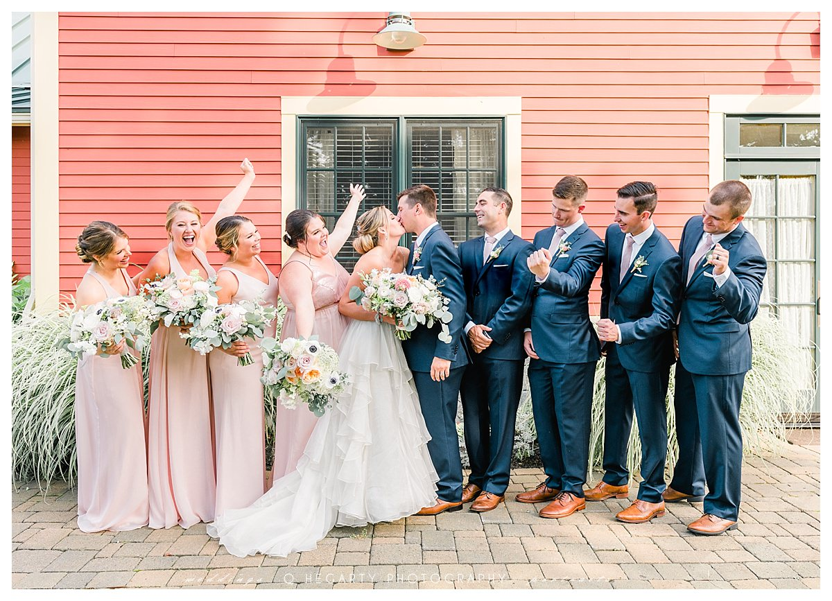 cheerful wedding party photos red barn outlook farm wedding South Berwick ME Q Hegarty Photography