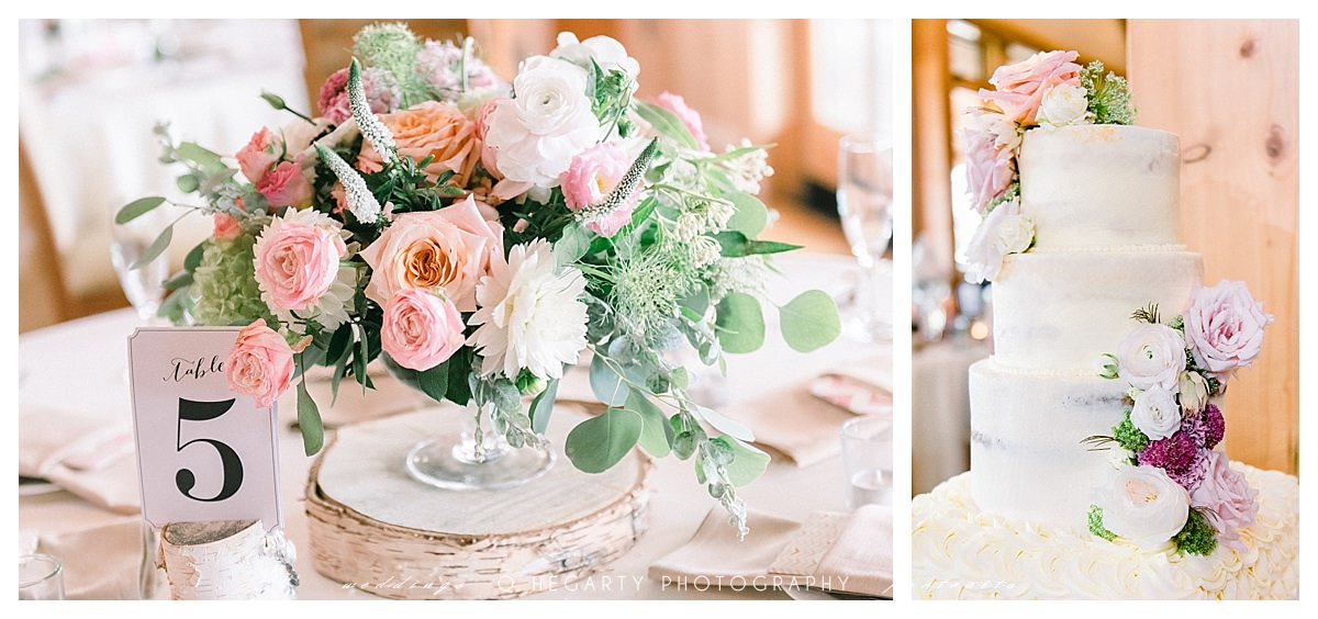 blush and peach themed wedding reception  romantic red barn outlook farm wedding Q Hegarty Photography
