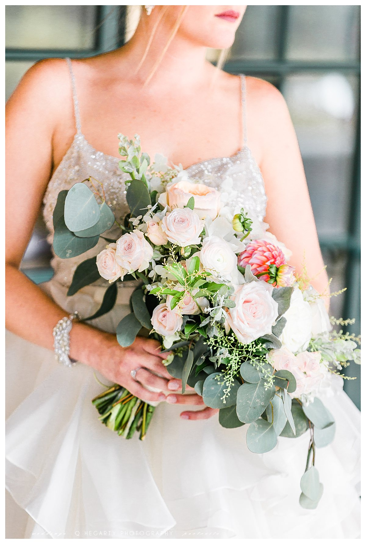 lush summer peach and blush bridal bouquet red barn outlook farm wedding South Berwick ME by Q Hegarty Photography