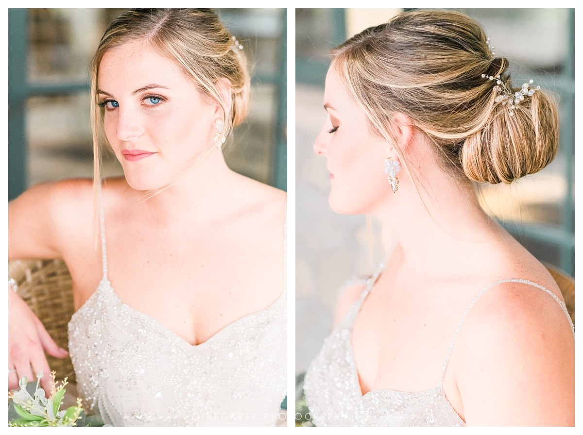 classic and elegant bridal look red barn outlook farm wedding by Q Hegarty Photography