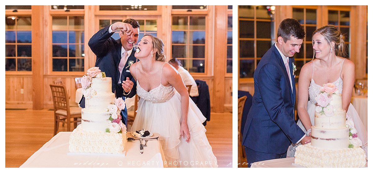 bride and groom cake cutting photo ideas Q Hegarty Photography red barn at outlook farm weddings in ME