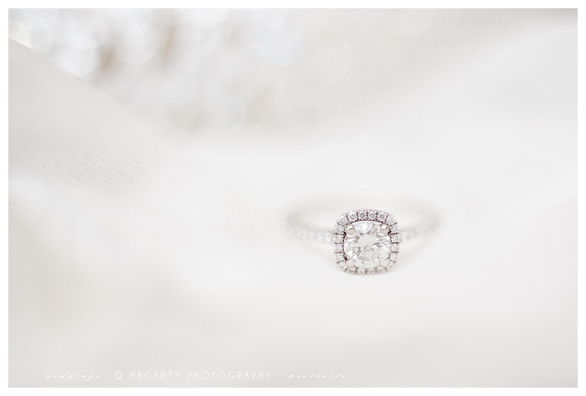 gorgeous and classic engagement ring Q Hegarty Photography summer  red barn outlook farm wedding