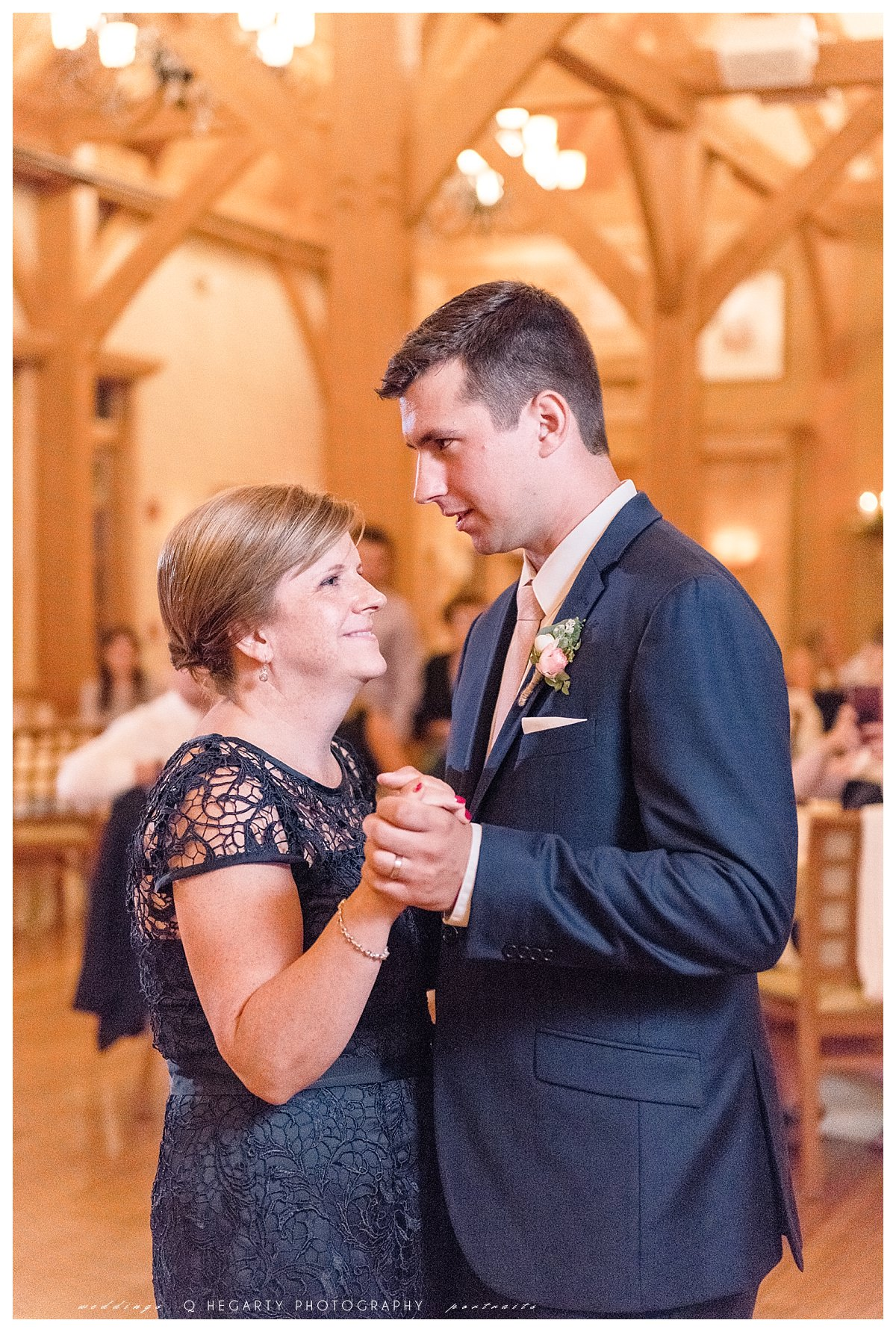 mother and son dance photos at reception Q Hegarty Photography red barn outlook farm wedding in ME