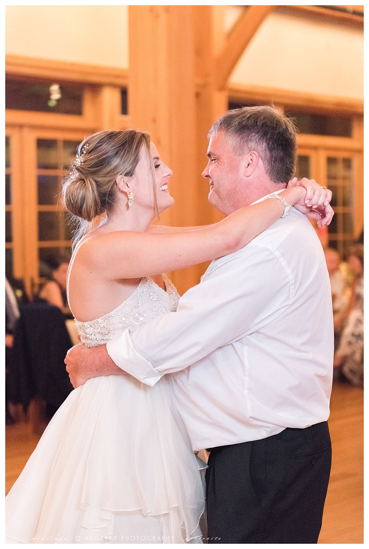 father and daughter dance photos at reception Q Hegarty Photography red barn outlook farm wedding in ME