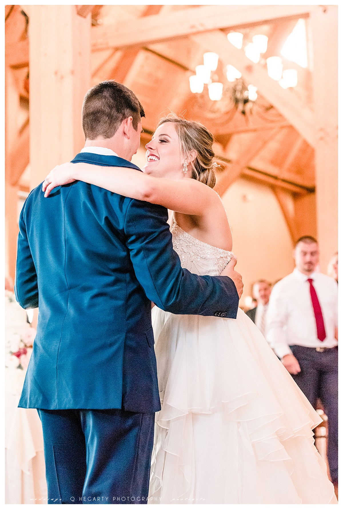 first dance as husband and wife red barn outlooking farm wedding by Q Hegarty Photography
